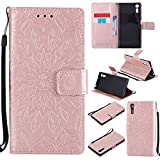 For Sony Xperia XZ Case [Rose Gold],Cozy Hut [Wallet Case] Magnetic Flip Book Style Cover Case ,High Quality Classic New design Sunflower Pattern Design Premium PU Leather Folding Wallet Case With [Lanyard Strap] and [Credit Card Slots] Stand Function Folio Protective Holder Perfect Fit For Sony Xperia XZ 5,2 inch - Rose gold