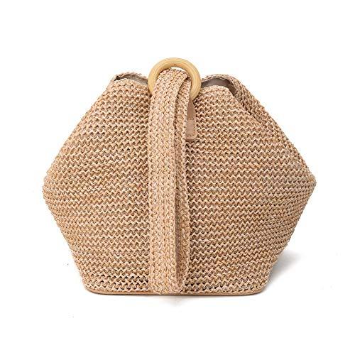 Ardentity Strohtasche Umhängetasche, Europäischer Stil Rattan Stroh Schulter Beutel Handgewebte Strand Taschen für Das Gifting, Spielraum Tägliche Verwendung - Gehäkelte Beutel