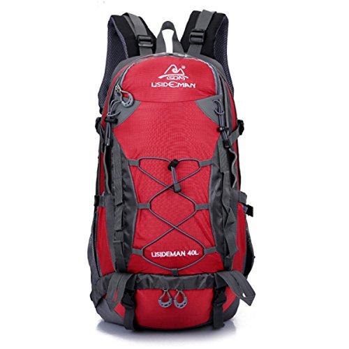 Outdoor Bergsteigen Tasche 40L Reisen Rucksack Sport Schulter Tasche Wasserdicht Red