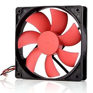 Neuftech ventola 120mm per PC, alimentatore di rete, silenziosa, 2pin DC 12V–rosso