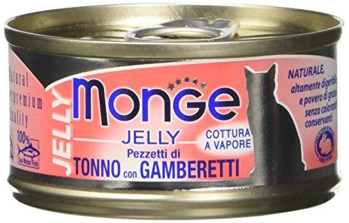 Monge, Jelly - Cibo Per Gatti, Tonno con Gamberetti, 80 grammi, 1 Lattina