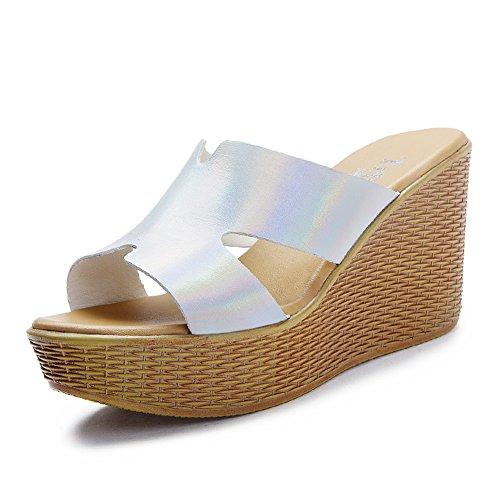 mode wedges Sandales femme et chaussons/Sandales à talons hauts sexy durant l'été/HMots cool pantoufles/ porter la plateforme sandales B