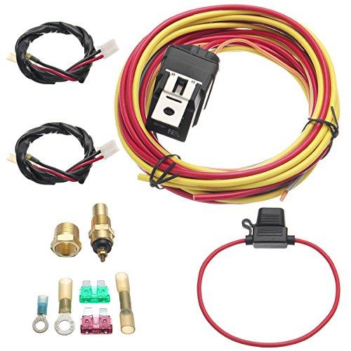 DyNamic Elektrischer Ventilator Relais Kabelbaum Thermostat Dual Sensor Kit 40 Ampere Heavy Duty -