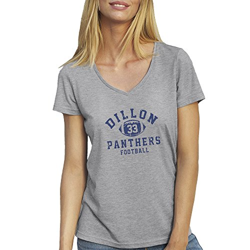 Friendly Bees Friday Night Lights Dillon Panthers Football 33 Grau T-Shirt für Damen mit V-Ausschnitt Small (Light Bee T-shirt)