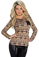 975 Fashion4Young Damen Langarm-Shirt Strick Pulli Pullover leder Look verfügbar in 2 Größen 2 Farben