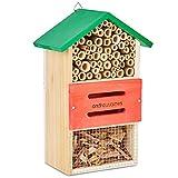 Andrew James Insektenhotel - Insektenhaus aus Holz - Das Perfekte Heim für Bienen und Natürliche Schädlingsbekämpfer wie Marienkäfer und Netzflügler