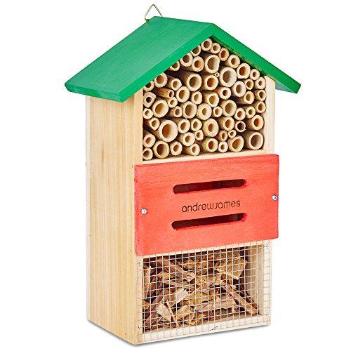Andrew James Insektenhotel Insektenhaus aus Holz | Das Perfekte Heim für Bienen und Natürliche Schädlingsbekämpfer wie Marienkäfer und Netzflügler