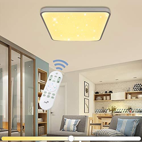 VINGO® luz de Techo Plafón Fría Lámpara de la sala (50W Cuadrado Control Remoto Regulable)