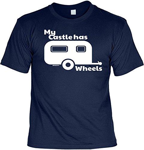 Fun Shirt mit lustigem Motiv - My Castle has Wheels - Wohnwagen - Geschenk zum Geburtstag - Camping - navyblau Navyblau