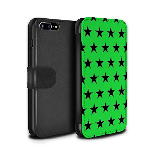 Stuff4 Coque/Etui/Housse Cuir PU Case/Cover pour Apple iPhone 8 Plus / Bleu Design / Motif Étoiles Collection Vert