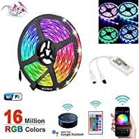 Gluckluz LED Light Strip Smart WiFi 5M 300 LED Lighting String 5050 SMD Compatible with Alexa and Google Home for Bedroom Kitchen Mirror Hotel PC TV (Multi-Color)