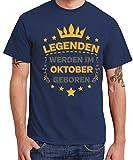 - Legenden Werden im Oktober geboren - Boys T-Shirt Navy, Größe XXL