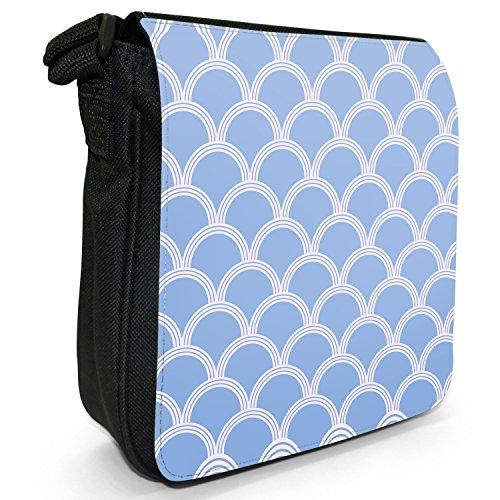 Fancy A Snuggle, Borsa a tracolla donna Japanisch inspirierte blaue Wellen