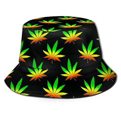 Imagen de sombrero de cubo de marihuana weed sombreros de pescador de patrón animal de moda para mujer  reversible empacable