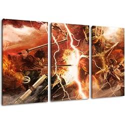 Attack on Titan Motiv, 3-teilig auf Leinwand (Gesamtformat: 120x80 cm), Hochwertiger Kunstdruck als Wandbild. Billiger als ein Ölbild! ACHTUNG KEIN Poster oder Plakat!