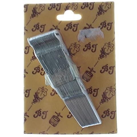 Bouchonnerie Jocondienne 233C Lot de 50 Collier pour Bouchons Mécaniques Métal Gris 11,5 x 18,5 x 2 cm