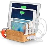 Upow Station de recharge, 5 ports USB en Bamboo, Bureau Organizer Multi-Device Charging Dock Holder, Pour iPhone, iPad, Smartphones, Tablettes