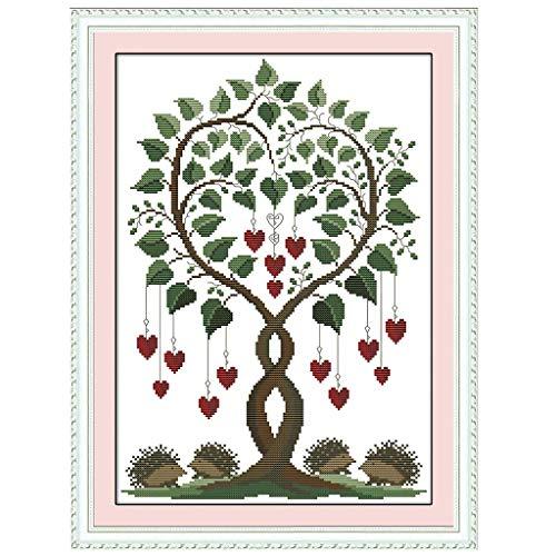 Fliyeong Herz Baum DIY handgemachte Hand gezählt 14CT gedruckt Kreuzstich Stickerei Kit Set Dekoration langlebig und nützlich -