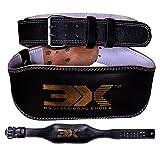 3 x deportes piel levantamiento de peso cinturón 4 'Fitness la espalda entrenamiento de fuerza gimnasio, negro, S(32'-36')