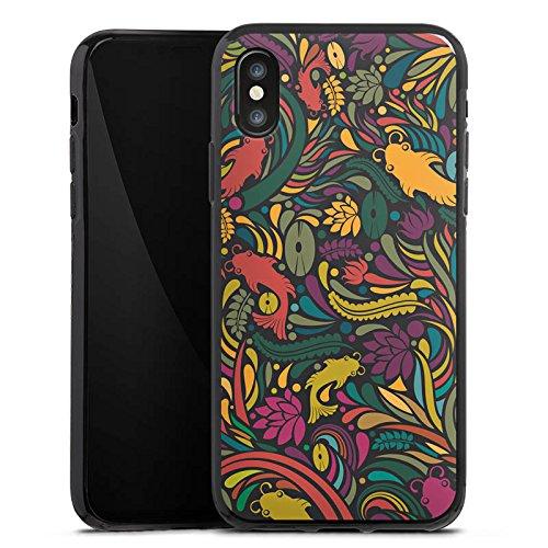 Apple iPhone X Silikon Hülle Case Schutzhülle Flower Fische Muster Silikon Case schwarz