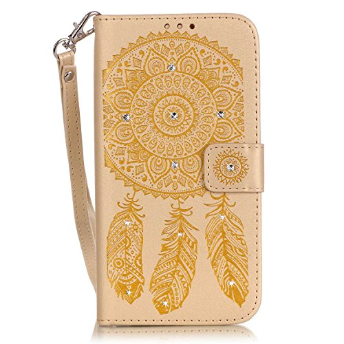 EUWLY Case Cover per iPhone 7/iPhone 8 (4.7) Custodia Portafoglio PU Pelle Goffratura Campanula Feather e Fiore Custodia Cover Lusso Brillante Sparkling Glitter Cover Bling Diamante Case Premium Cust Oro