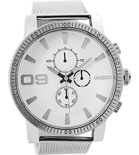 Oozoo Herrenuhr mit Metallband 50 MM Weiss/Silberfarben C9435