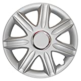 CM DESIGN 15 Zoll Radkappen Samoa Nylon LUX (Silber), UNIVERSAL Radzierblenden passend für Fast alle Fahrzeuge!