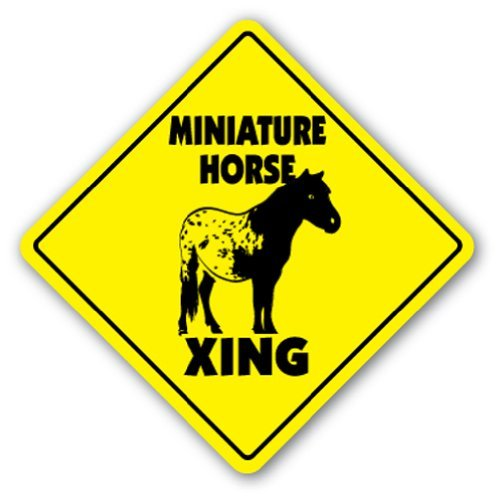 SignMission Miniatur Pferd Crossing Sign Zone Xing 35,6 cm Hoch Pony Bit Sattel Feed behandelt Gelb Medium Gelb -