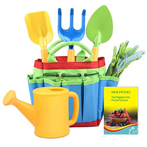 NOUVCOO Outils de Jardin pour Enfants, Comprend Un Sac Fourre-Tout Robuste pour Le Jardinage, Un Arrosoir, Une Pelle, Un Râteau, Une Fourchette NC27