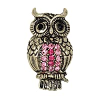 Cosanter Brooches Pins Noble Hollow Rhinestone Owl Designed Brooch Pin for Wedding Prom Pink