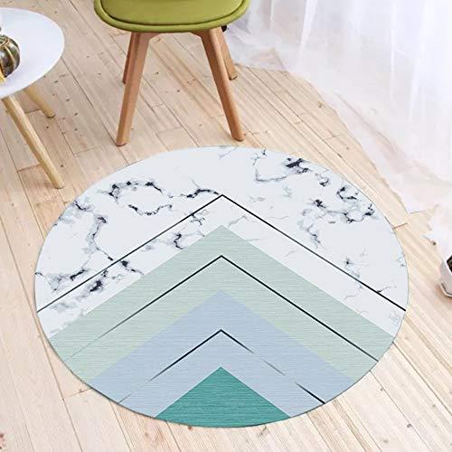 JIFAN Runder Teppich, Nordische Moderne Geometrische Teppich Marmor Serie Decke Flanell Weichen Haushalt Pad Rutschfeste Sofa Pad For Wohnzimmer Schlafzimmer Badezimmer Garderobe - Runde Esszimmer-serie