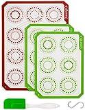 Silikon Backmatte - 3er Set | Hitzebeständige Backunterlage | 1 Halb & 2 Viertel-Matten | Wiederverwendbare Kochmatten | Kleben nicht | Von Quasar & Co