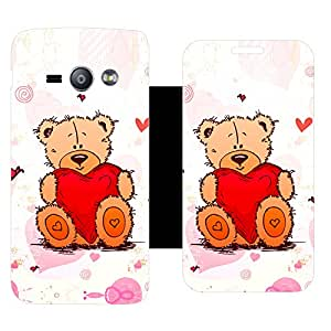 Skintice Designer Flip Cover with Vinyl wrap-around for Samsung Galaxy J1 ACE , Design - Teddy bear