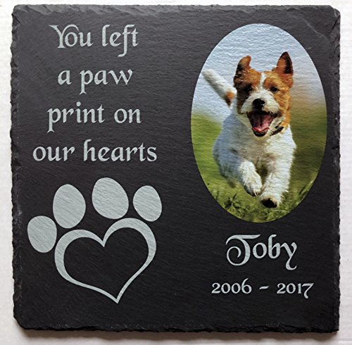 Beautiful Natural Slate Pet Dog Memorial Personalised With Full Colour Photo & Text 1