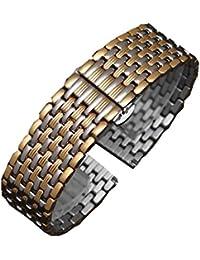 JMOFinc Bracelet de Montre en Acier Inoxydable Neuf Perles de Métal Bracelet Ultra-Mince pour Montre pour 16mm 18mm 20mm 22mm (14mm, Argent + Gold)