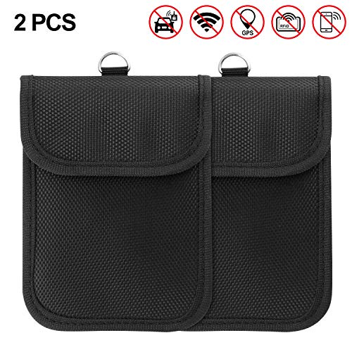 Winbang Autoschlüssel-Etui, 2 Packs Signal-Blocking-Bag Faraday-Bag-Taschen Diebstahlsicherungsgeräte Schutztaschen mit Schlüsselring für GSM CDMA PHS Gsm-cdma