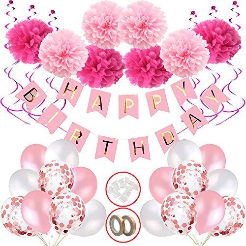 Hook Geburtstagsdeko Mädchen, Happy Birthday Girlande Ballons mit Deko Geburtstag, Deko Kindergeburtstag, Party Deko, Seidenpapier Pompoms Rosa Banner und Luftballons für Mädchen Freundin Tochter