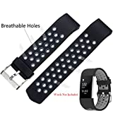 #3: Fitbit Charge 2 Band Strap By House of Quirk Soft TPU Adjustable Replacement Bands Fitness Sport Strap - Black/Grey