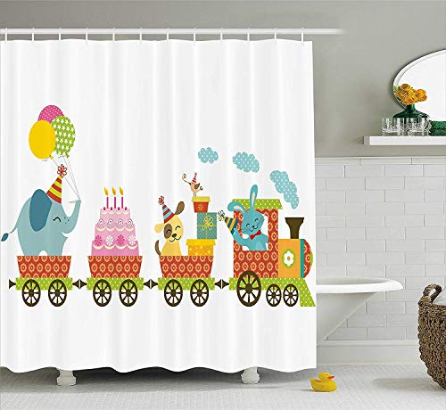 ations for Kids Shower Curtain, Happy Cartoon Cake Animals Balloons in a Party Train Image, Fabric Bathroom Decor Set with Hooks, 66x72 inches Extra Long, Multicolor ()