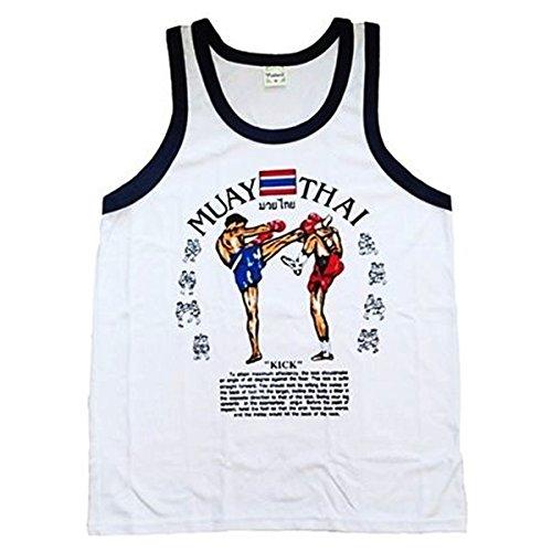 Unisex Jerseys camiseta Sport Muaythai Boxing Blanco 100% algodón de Tailandia Tamaño M