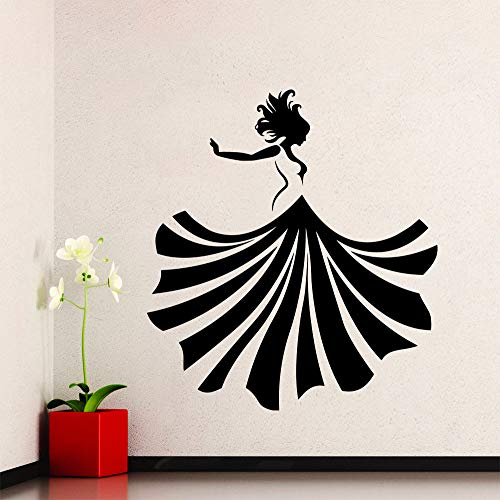 jiushizq Wandtattoo Mädchen Tanzen Wandaufkleber Kleid Mode Beauty Shop Poster Vinyl Kunst Abnehmbare Adesivi Parede Y 8 57X65 cm