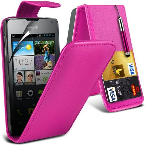 huawei-ascend-y300-leather-flip-case-cover-hot-pinkplus-free-gift-screen-protector-and-a-stylus-pen-