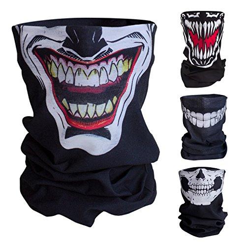 Totenkopf Halstuch (Qualitatives Multifunktionstuch / Motorrad Totenkopf Maske / Face Shield / Sturmmaske - fürs Fahrrad / Ski / Snowboard / Paintball / Klettern / Wandern - [Joker / schwarz])
