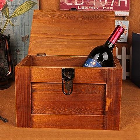 GG Cassette di legno legno alimentari con serrature. cosmetici scatola con segreto documenti. una scatola di legno
