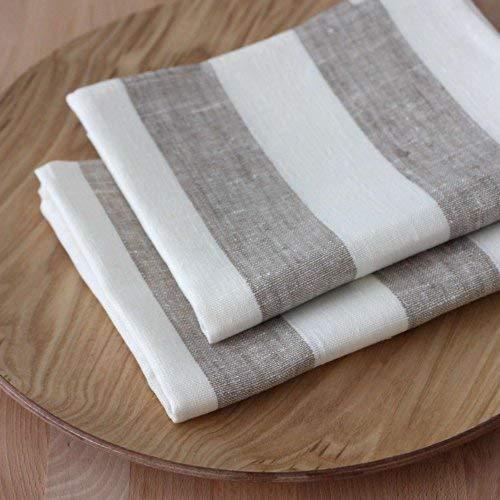 2-er Pack Leinen Geschirrtücher - Küchentücher - 100% Leinen - 50 x 70 cm - Grau Weiß (100 Geschirrtücher Leinen)