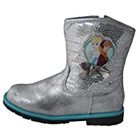 Disney Frozen Girls Cowboy Boots Winter Ankle Silver Sequin Elsa Bow Silver Snow