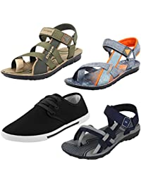 Earton Men Combo Pack of 4 (Sandals) &Floaters with Sneaker Shoe
