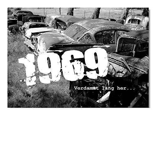 DigitalOase 2 Einladungskarten Jahrgang 1969 50. Geburtstag MIT INNENTEXT 50. Jubiläum Geburtstagskarten 2 Klappkarten 2 Kuverts Format DIN A6#OLDIE