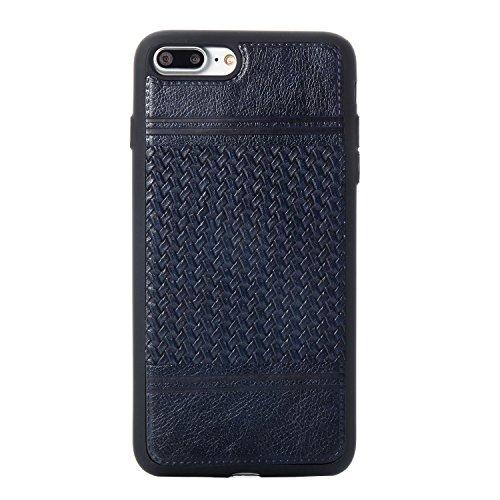 EKINHUI Case Cover Mischfarben Weberei Muster PU Leder Haut Abdeckung Shell Soft TPU / Silikon Rückseiten Fall Fall für iPhone 7 Plus ( Color : F ) G