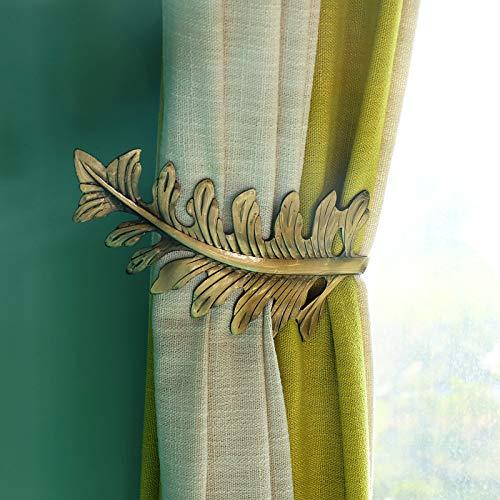 AHIMITSU 2 Stück Metall Blatt Form Vorhang Tie Backs U Form Raffhalter Halter Wand Haken Home Decor Hook -